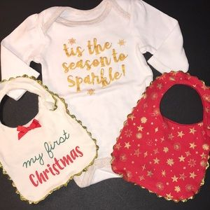 My 1st Christmas Bib Set and Sparkle Baby Onesie
